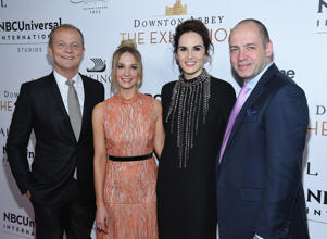 NEW YORK, NY - NOVEMBER 17: (L-R) Kevin MacLellan, Chairman Global Distribution & International NBCUniversal, Joanne Froggatt, Michelle Dockery and Gareth Neame, Series Creator and EP and MD, Carnival Films attend the 'Downton Abbey: The Exhibition' Gala Receptionon November 17, 2017 in New York City.  (Photo by Dimitrios Kambouris/Getty Images)