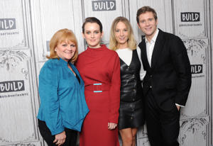 NEW YORK, NY - NOVEMBER 17:  (L-R) Actors Lesley Nicol, Sophie McShera, Joanne Froggatt and Allen Leech visit Build Series to discuss 'Downton Abbey: The Exhibition' at Build Studio on November 17, 2017 in New York City.  (Photo by Desiree Navarro/WireImage)