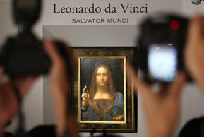 Salvator Mundi, by Leonardo da Vinci, displayed at Christieé??s in Central.  13OCT17 SCMP / Felix Wong (Photo by Felix Wong/South China Morning Post via Getty Images)