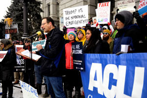 DENVER, CO - FEBRUARY 18: Colorado Attorney General Phil Weiser tells the crowd he will stand by the rule of law during a protest of President Donald Trump's national emergency as a fake emergency at the Colorado State Capitol Building west steps February 18, 2019, in Denver, Colorado. (Photo by Joe Amon/MediaNews Group/The Denver Post via Getty Images)