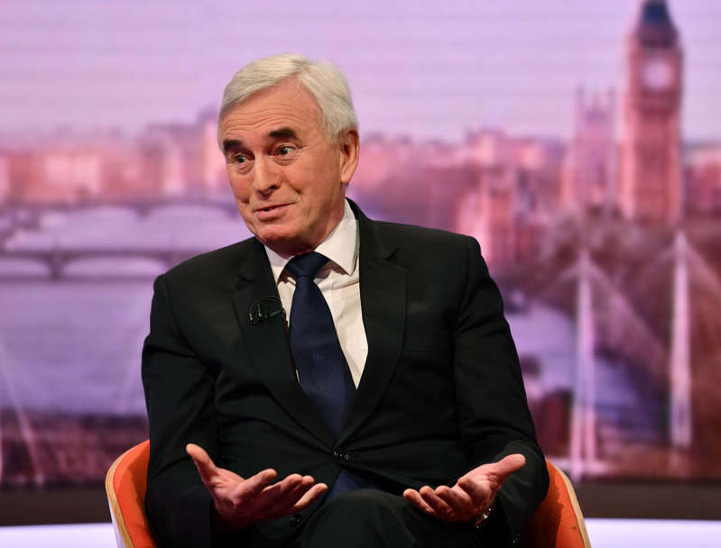 LONDON -  FEBRUARY 17:   (NO SALE/NO ARCHIVE) In this handout image provided by the BBC,  Shadow Chancellor John McDonnell appears on The Andrew Marr Show on February 17, 2019 in London, England.  (Photo by Jeff Overs/BBC via Getty Images)  Warning: Use of this copyright image is subject to Terms of Use of BBC Digital Picture Service.  In particular, this image may only be used during the publicity period for the purpose of publicising 'Andrew Marr Show' and provided the BBC is credited.