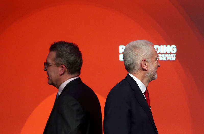 REFILE - CORRECTING DATE  Labour Party leader Jeremy Corbyn stands next to deputy leader Tom Watson after delivering his speech at the party's conference in Liverpool, Britain, September 26, 2018. REUTERS/Hannah McKay      TPX IMAGES OF THE DAY