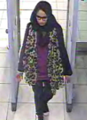 Undated handout still taken from CCTV issued by the Metropolitan Police of east London schoolgirl Shamima Begum, going through security at Gatwick airport, before catching a flight to Turkey in 2015 to join the Islamic State