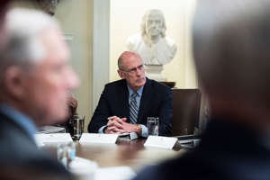 WASHINGTON, DC - JULY 18 : Director of National Intelligence Daniel Coats listens to President Donald J. Trump during a cabinet meeting in the Cabinet Room of the White House on Wednesday, July 18, 2018 in Washington, DC. (Photo by Jabin Botsford/The Washington Post via Getty Images)