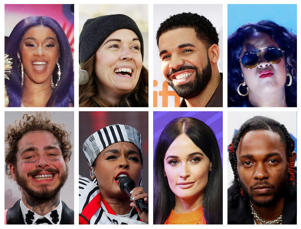 Grammy Award nominations in Album of the Year category includes artists in this combination photo; (Top L-R) Cardi B, Brandi Carlile, Drake and H.E.R., (Bottom L-R) Post Malone, Janelle Monae, Kacey Musgraves and Kendrick Lamar.