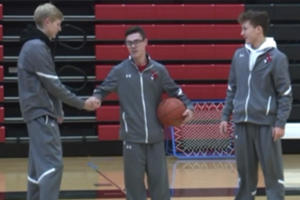 A legally blind high school basketball player took one shot in his only game all year. He sank it.