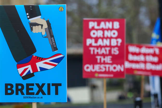 Anti-Brexit placards are seen during the demonstration outside Parliament