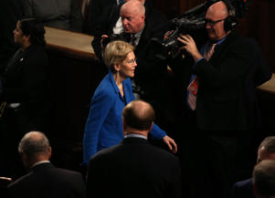 U.S. Senator Elizabeth Warren (D-MA) arrives to attend U.S. President Donald Trump's second State of the Union address to a joint session of the U.S. Congress in the House Chamber of the U.S. Capitol on Capitol Hill in Washington, U.S. February 5, 2019. REUTERS/Leah Millis