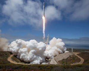 VANDENBERG AIR FORCE BASE - MAY 22: In this handout image provided by NASA, the NASA/German Research Centre for Geosciences GRACE Follow-On spacecraft launch onboard a SpaceX Falcon 9 rocket, Tuesday, May 22, 2018, from Space Launch Complex 4E at Vandenberg Air Force Base in California. The mission will measure changes in how mass is redistributed within and among Earth's atmosphere, oceans, land and ice sheets, as well as within Earth itself. GRACE-FO is sharing its ride to orbit with five Iridium NEXT communications satellites as part of a commercial rideshare agreement. (Photo by Bill Ingalls/NASA via Getty Images)