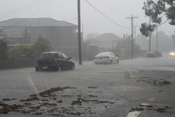 Flash flooding on Brabyn St in North Parramatta after thunderstorms passed over Sydney, Wollongong and the Central Coast.