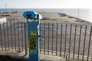 Sea view telescope on West Cliff Promenade that overlooks the Port of Ramsgate, on 8th January 2019, in Ramsgate, Kent, England. The Port of Ramsgate has been identified as a 'Brexit Port' by the government of Prime Minister Theresa May, currently negotiating the UK's exit from the EU. Britain's Department of Transport has awarded to an unproven shipping company, Seaborne Freight, to provide run roll-on roll-off ferry services to the road haulage industry between Ostend and the Kent port - in the event of more likely No Deal Brexit. In the EU referendum of 2016, people in Kent voted strongly in favour of leaving the European Union with 59% voting to leave and 41% to remain. (Photo by Richard Baker / In Pictures via Getty Images)