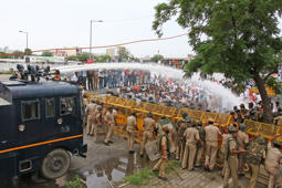 An Indian Police use water cannons to disperse Rajasthan Youth Congress workers who were holding a protest over Rafale Jet deal 'multi crore scam ' in Jaipur, Rajasthan, India, Sept 06,2018.Rajasthan Youth Congress protest against the BJP-led NDA government demanding answers from it over the alleged multi crore scam in Rafale fighter jet deal with France.(Photo By Vishal Bhatnagar/NurPhoto via Getty Images) (Photo by Vishal Bhatnagar/NurPhoto via Getty Images)