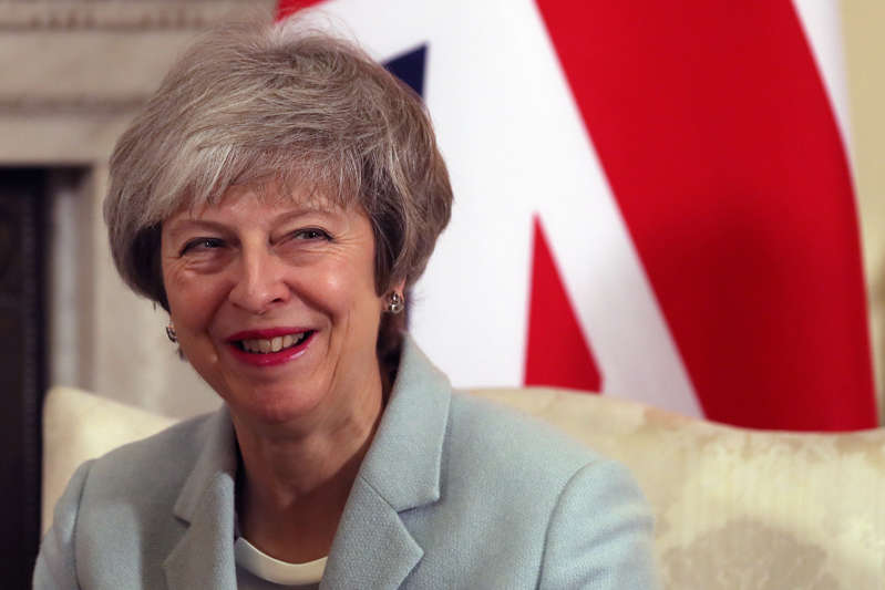 Britain's Prime Minister Theresa May reacts during her meeting with Malta's Prime Minister Joseph Muscat inside 10 Downing Street in central London, Britain, February 11, 2019. Daniel Leal-Olivas/Pool via REUTERS