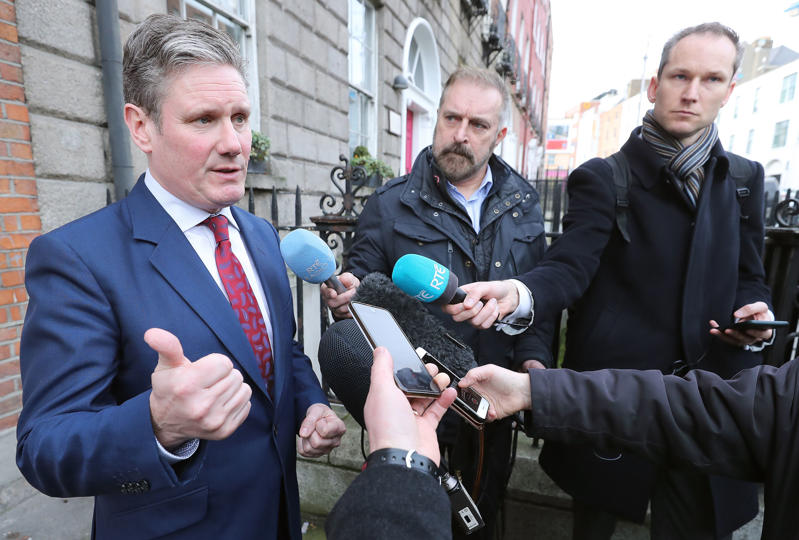 UK shadow Brexit secretary Sir Keir Starmer speaking to the media before holding a series of meetings in Congress House in Dublin. (Photo by Niall Carson/PA Images via Getty Images)