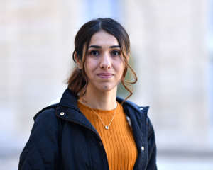 PARIS, FRANCE - OCTOBER 25: Nobel Peace Prize winner Nadia Murad poses after a meeting with French president Emmanuel Macron (not seen) at the Elysee Palace in Paris, France on October 25, 2018.  (Photo by Mustafa Yalcin/Anadolu Agency/Getty Images)