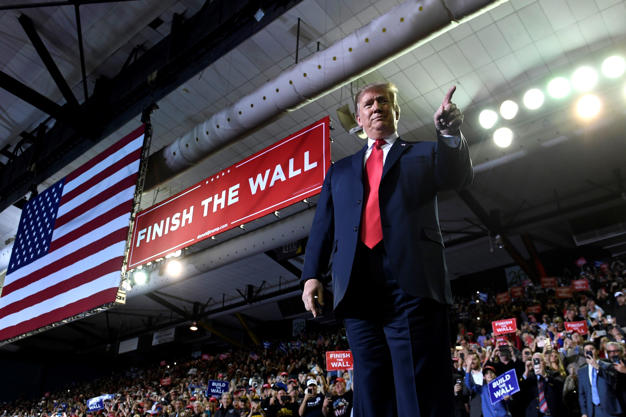 President Donald Trump arrives to speak at a rally in El Paso, Texas, Monday, Feb. 11, 2019.  (AP Photo/Susan Walsh)