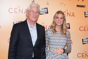 Richard Gere and Alejandra Silva attend the 'The Dinner' movie premiere at 'Capitol Cinema' in Madrid on Dec 11, 2017 (Photo by Gabriel Maseda/NurPhoto via Getty Images)