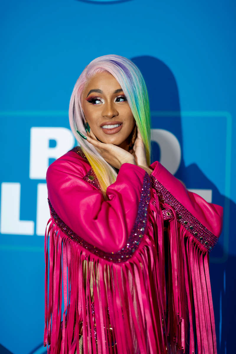 Cardi B is seen on the blue carpet before performing on Super Bowl eve, Saturday, Feb. 2, 2019 in Atlanta. (Ryan Kang/AP Images for the NFL)