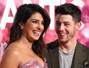 Priyanka Chopra and Nick Jonas attend the premiere of Warner Bros. Pictures' 'Isn't It Romantic' at The Theatre at Ace Hotel on February 11, 2019 in Los Angeles, California.