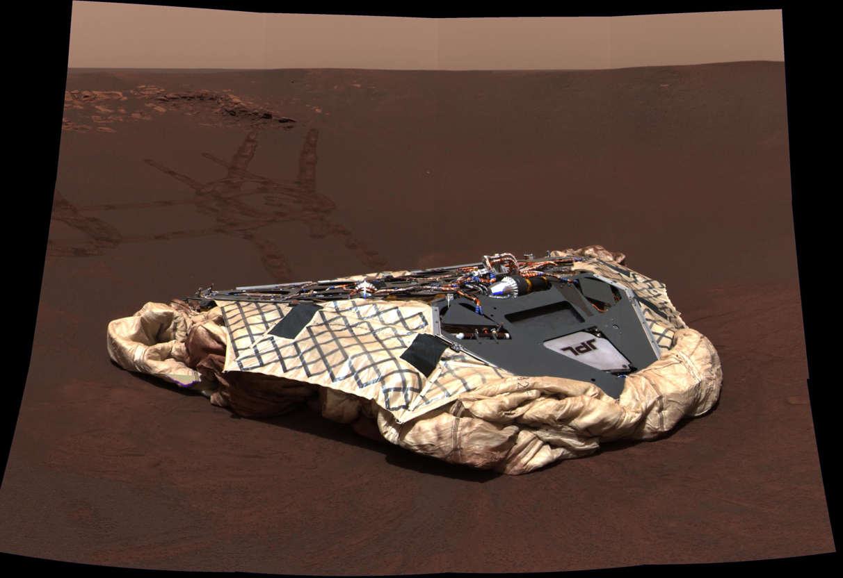 Slide 16 of 16: Editorial use only Mandatory Credit: Photo by NASA/REX/Shutterstock (1275289a) Exploration Rover Opportunity shows the rover's empty lander, the Challenger Memorial Station, at Meridiani Planum, Mars. Mars Exploration Rover Opportunity - 24 Jan 2011 This image was taken by the panoramic camera aboard the Mars Exploration Rover Opportunity. The image was acquired on the rover's 24 sol, or Martian day. Time. This mosaic image consists of 12 color images acquired with the camera's red, green and blue filters. The color balance has been set to approximate the colors that a human eye would see. Opportunity is celebrating its seventh anniversary on the Red Planet, having landed on Jan. 25, 2004, for what was to be a 90-day mission.