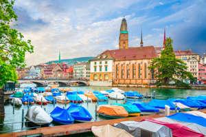 Beautiful river Limmat and city center of Zurich, Switzerland