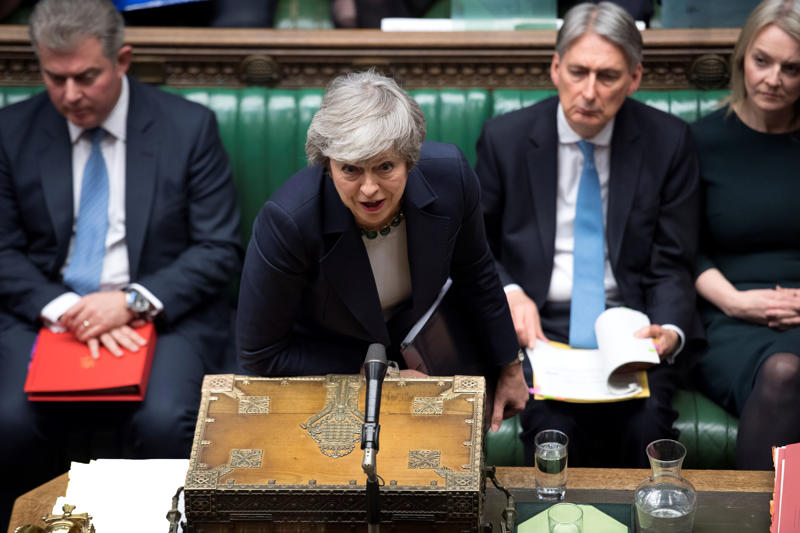 Britain's Prime Minister Theresa May speaks in Parliament ahead of a Brexit vote, in London, Britain, March 13, 2019. UK Parliament/Jessica Taylor/Handout via REUTERS ATTENTION EDITORS - THIS IMAGE HAS BEEN SUPPLIED BY A THIRD PARTY.
