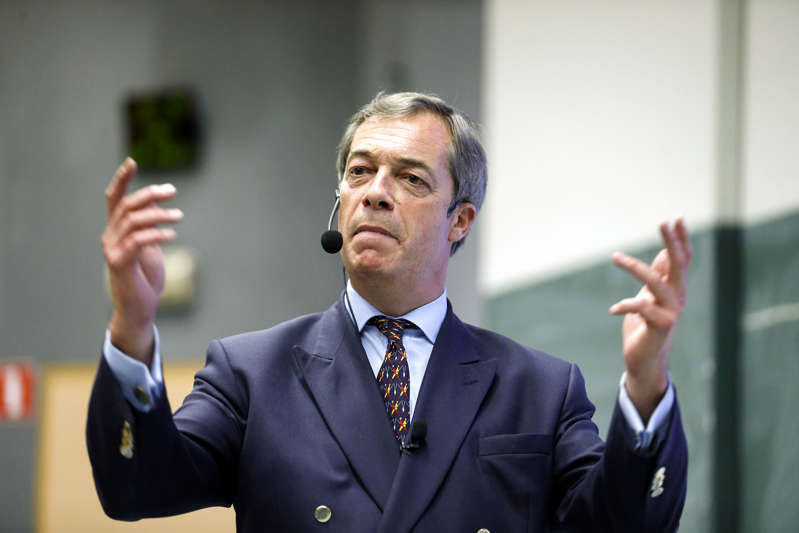 British politician Nigel Farage, MEP and Vice Chairman of the pro-Brexit Leave Means Leave organisation, speaks at an event organised by the Gent chapter of conservative Flemish Nationalist student union KVHV on September 28, 2018 in Gent. (Photo by NICOLAS MAETERLINCK / various sources / AFP) / Belgium OUT        (Photo credit should read NICOLAS MAETERLINCK/AFP/Getty Images)