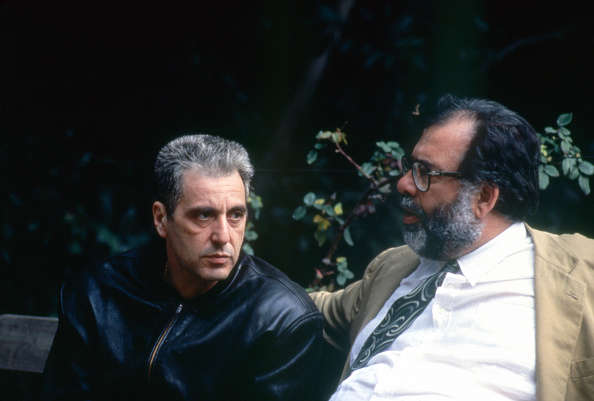 American actor Al Pacino with director and screenwriter Francis Ford Coppola on the set of his movie The Godfather: Part III. (Photo by Paramount Pictures/Sunset Boulevard/Corbis via Getty Images)