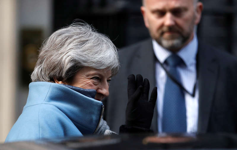 Britain's Prime Minister Theresa May is seen outside Downing Street in London, Britain March 14, 2019. REUTERS/Peter Nicholls