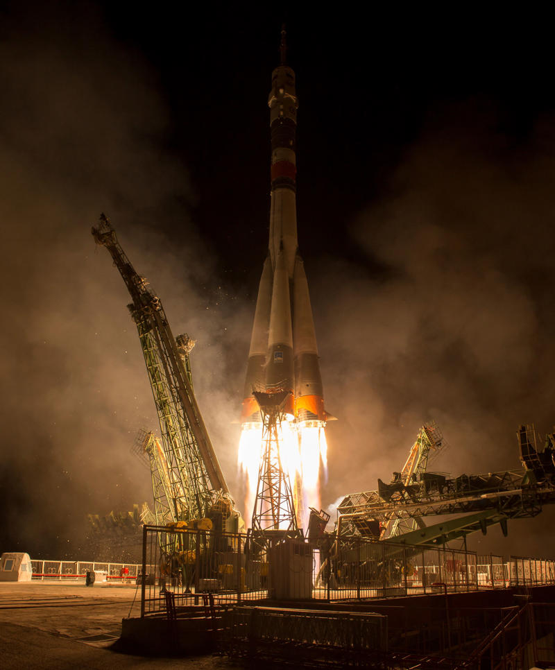 KAZAKHSTAN - SEPTEMBER 13: In this handout photo provided by NASA, The Soyuz MS-06 spacecraft launches from the Baikonur Cosmodrome with Expedition 50 crewmembers Joe Acaba of NASA, Alexander Misurkin of Roscosmos, and Mark Vande Hei of NASA on September 13, 2017 from the Baikonur Cosmodrome in Kazakhstan. Acaba, Misurkin, and Vande Hei will spend approximately five and half months on the International Space Station. (Photo by Bill Ingalls/NASA via Getty Images)