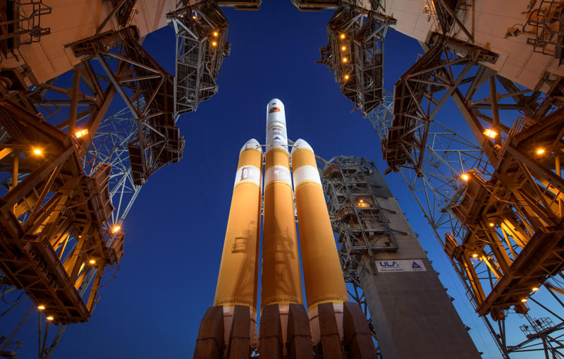 CAPE CANAVERAL, FL - AUGUST 11: In this handout provided by NASA, The Mobile Service Tower is rolled back to reveal the United Launch Alliance Delta IV Heavy rocket with the Parker Solar Probe onboard, Saturday, Aug. 11, 2018, Launch Complex 37 at Cape Canaveral Air Force Station in Florida. Parker Solar Probe is humanitys first-ever mission into a part of the Suns atmosphere called the corona.  Here it will directly explore solar processes that are key to understanding and forecasting space weather events that can impact life on Earth. (Photo by Bill Ingalls/NASA via Getty Images)