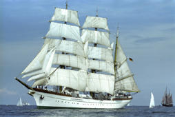 Sail training ship of the Federal marine, Gorch fock, in full sails. Picture taken on 24th June 1987. | usage worldwide (Photo by Wulf Pfeiffer/picture alliance via Getty Images)