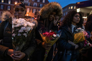 LONDON, ENGLAND - NOVEMBER 05: Friends and family gather at the scene where Malcolm Mide-Madariola was killed, and pay their respects on November 05, 2018 in London, England. Malcolm Mide-Madariola, 17, became the 116th murder victim to die in the capital this year.  He was stabbed to death outside Clapham South Tube Station in South West London Friday on November 2. (Photo by Dan Kitwood/Getty Images)