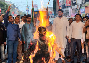 Congress Political Party worker burn Pakistan Prime Minister Imran Khan effegy and protest against recently terrorist attack at Pulwama on February 17,2019 in Kolkata, India