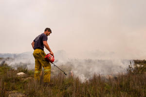 MIENA, AUSTRALIA - JANUARY 23: Tasmania Fire Service conduct back burns and create fire breaks in preparation for the unfavourable weather conditions on January 23, 2019 in Miena, Australia. Firefighters continue to battle a number of blazes across Tasmania as with hot, windy weather forecast for the rest of the week. The Tasmanian Fire Service confirmed one property has been destroyed near the town of Miena on Tuesday night. (Photo by Heath Holden/Getty Images)