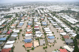 TOWNSVILLE, AUSTRALIA - FEBRUARY 04: Seen is a general view of the flooded area of Townsville on February 04, 2019 in Townsville, Australia. Queensland Premier Annastacia Palaszczuk has warned Townsville residents that flooding has not yet reached its peak as torrential rain continues. The continued inundation forced authorities to open the floodgates on the swollen Ross River dam on Sunday night. (Photo by Ian Hitchcock/Getty Images)