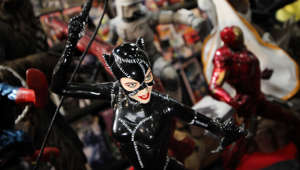 Torino Comics' XXIII edition closes with 55,000 visitors, a fact that confirms the positive trend of 2016. Comic strips, video games, curious and the inevitable cosplayers have given birth to the yearly fashion show of such enthusiasts. Here a Cat Woman action figure. (Photo by Elena Aquila/NurPhoto via Getty Images)