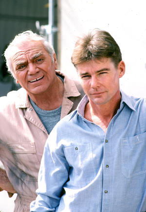 Ernest Borgnine plays Dominic Santini in Airwolf with co star Jan Michael Vincent May 6, 1985 at Van Nuys Airport, Los Angeles, California . ( Photo by Paul Harris/Getty Images )