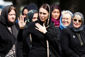 New Zealand's Prime Minister Jacinda Ardern waves as she leaves after the Friday prayers at Hagley Park outside Al-Noor mosque in Christchurch, New Zealand March 22, 2019. REUTERS/Edgar Su