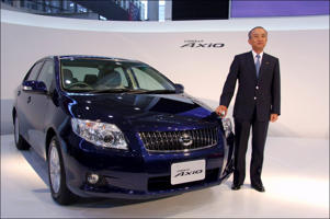 JAPAN - OCTOBER 10:  Toyota Unveils New Corolla In Japan On October 10, 2006 - Toyota Motor Corporation's President Katsuaki Watanabe announced today the Japan sales launch of the completely redesigned Corolla sedan-now known as the Corolla Axio and completely redesigned Corolla Fielder small station wagon through 'Toyota Corolla' dealers nationwide.  (Photo by Kurita KAKU/Gamma-Rapho via Getty Images)