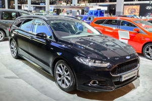 BRUSSELS, BELGIUM - JANUARY 13:    Ford Mondeo Wagon ST-line familiy car of the fith generation front view on display at Brussels Expo on January 13, 2017 in Brussels, Belgium. The Ford mondeo or Ford Contour or Mercury Mystique or Ford Fusion is available as fastback and estate car with various petrol and diesel engines and trim levels.  (Photo by Sjoerd van der Wal/Getty Images)