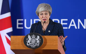 BRUSSELS, BELGIUM - MARCH 22 : British Prime Minister Theresa May holds a press conference on March 22, 2019, at the end of the first day of an EU summit focused on Brexit, in Brussels, Belgium. (Photo by Dursun Aydemir/Anadolu Agency/Getty Images)