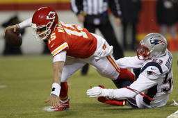 Kansas City Chiefs quarterback Patrick Mahomes is sacked by New England Patriots middle linebacker Kyle Van Noy (53) during the first half of the AFC Championship NFL football game, Sunday, Jan. 20, 2019, in Kansas City, Mo. (AP Photo/Charlie Neibergall)