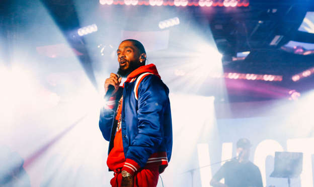NEW YORK, NY - FEBRUARY 20:  Nipsey Hustle performs at MTV TRL at MTV Studios on February 20, 2018 in New York City.  (Photo by MTV/TRL/Getty Images)
