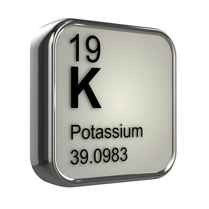 3d render of the potassium element from the periodic table