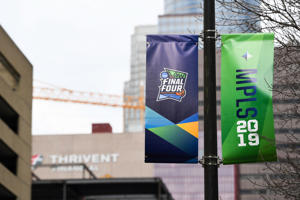 General view of the Final Four city scenes around U.S. Bank Stadium in Minneapolis on April 7, 2019.