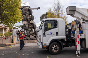 Mandatory Credit: Photo by DANIEL POCKETT/EPA-EFE/REX/Shutterstock (10196034c) A mobile crane (L, top) rests on one end after it toppled over onto two houses in Yarraville, Melbourne, Australia, 10 April 2019. Crane accident in Melbourne, Australia - 10 Apr 2019