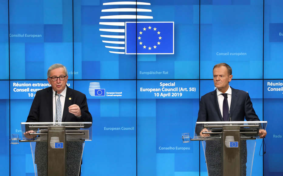 Slide 34 of 48: European Commission President Jean-Claude Juncker and European Council President Donald Tusk hold a news conference after an extraordinary European Union leaders summit to discuss Brexit, in Brussels, Belgium April 11, 2019.  REUTERS/Yves Herman
