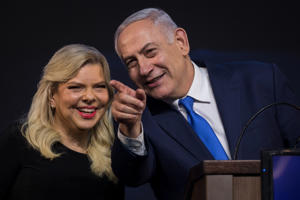 10 April 2019, Israel, Tel Aviv: Benjamin Netanyahu, Prime Minister of Israel, stands with his wife Sara at a post-election event. Several hours after the closure of the polling stations in Israel, only partial results were available on the night of Wednesday. However, these did not allow any reliable conclusions to be drawn about the final result. Photo: Oliver Weiken/dpa (Photo by Oliver Weiken/picture alliance via Getty Images)