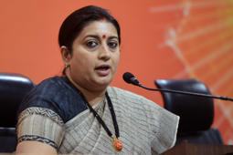 NEW DELHI, INDIA APRIL 24: HRD Minister Smriti Irani during a Press Conference at BJP Headquarters in New Delhi.(Photo by K Asif/India Today Group/Getty Images)